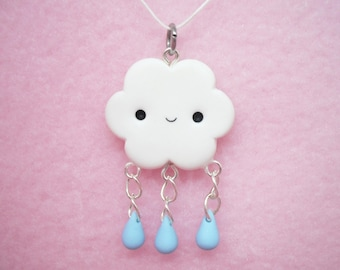 Cute cloud with dangly raindrops polymer clay charm - stitch marker - necklace