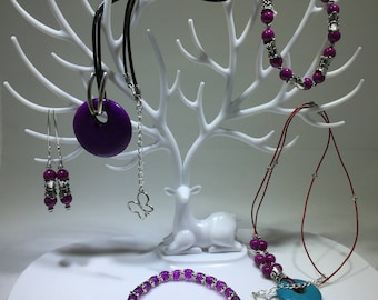 Jewelry Set Magenta Riverstone, Purple Glass, Purple Magnesite Necklace, Bracelet, & Earrings