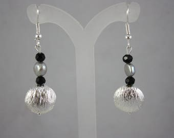 earrings, silver earrings, metal earrings, pearl earrings, drop earrings, dangle earrings