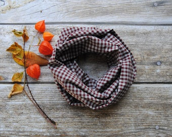 Toddler infinity scarf, gingham kids scarf, toddler cotton scarf, plaid toddler scarf, Boys Scarf