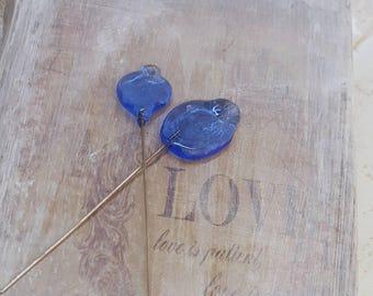 2 clous en verre de Murano filé à la flamme, feuilles bleues, SAHP13