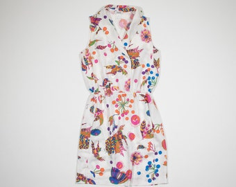 SONIA RYKIEL-white dress with floral pattern in silk-white dress with floral patterns silk