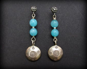 Tribal Sterling Earrings w. Faceted Chalcedony - 925 Northern Thailand Enbossed Silver