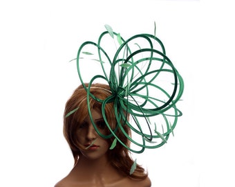 Emerald Green Large Feather Fascinator Hat - Perfect for a Mother of The Bride, ladies day - choose any colour feathers and satin
