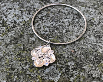 Blue Moonstones and Sterling Silver - Cherry Blossom/ Butterfly Bangle