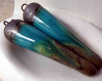 Ceramic  Spike Earring Charms- Glassy Turquoise and Bark