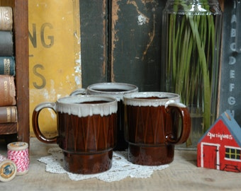 3 Vintage Brown Ceramic Geometric Mugs Retro White Drip Glaze Mug