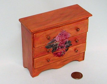 Antique classic dresser or bureau, rose decoupage, wooden knobs, 3 opening drawers. 12 inch dollhouse scale. Hand made in USA.