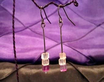 Rainbow Flourite cube drop earrings