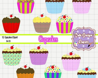 Cupcakes Predesigned - cupcake clip art, digital graphic for scrapbookings, cakes, bakery, sweets, frosting, chocolate