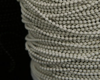 10 meter 33 feet 1.5 mm 15 gauge white brass ball chain with iron connector