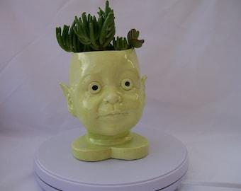 Green Ceramic Doll Head Planter