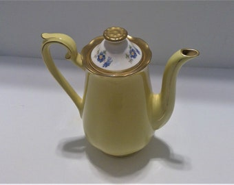 Hall Yellow Teapot, Buttercup No. 2, Gold Trim, Blue Flowered Coffeepot