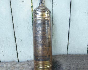 """Pyrene Fire Extinguisher """"Heavy Vehicle Type"""" Solid Brass, Pump-Style"""
