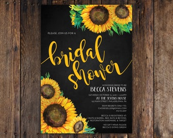 Fall Sunflower and Chalkboard 5x7 Bridal Shower Invitation Print at Home DIY Version