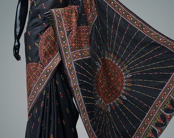 Kantha embroidered pure mulberry silk saree