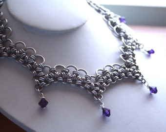 Ocean Wave Chainmaille Necklace w/ Swarovski crystal