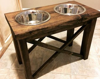 Rustic Dog Feeding Stand