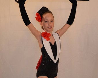 Red and black dance costume