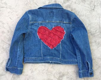 Girl's Heart Patched Denim Jacket