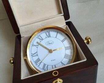 Chass Treasure Chest Captain's Clock Mahogany/Rosewood Piano Finish box