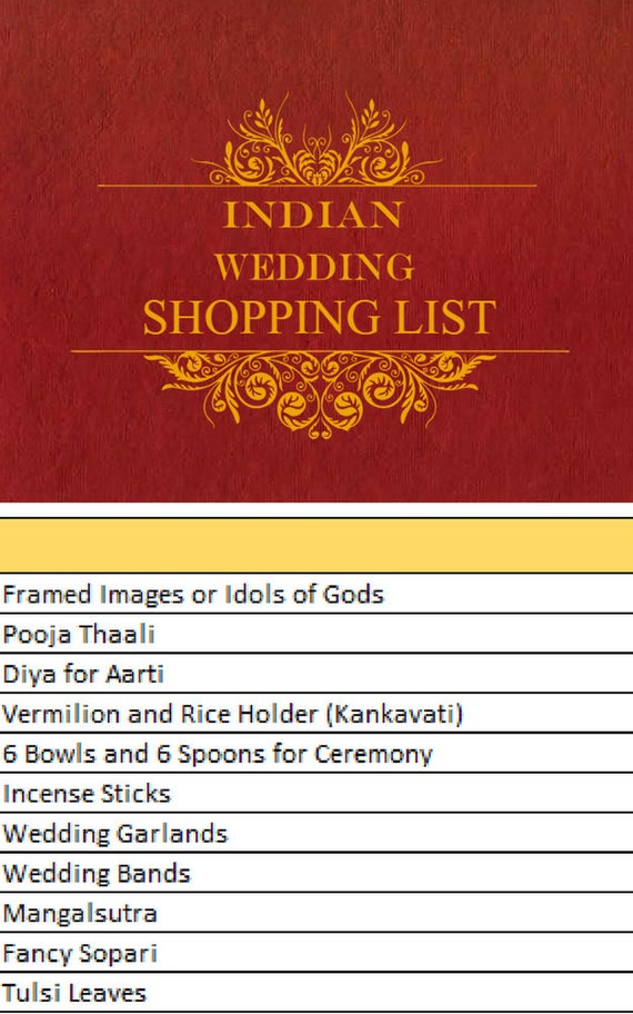 Indian Wedding Shopping List Wedding Shopping List Wedding