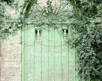 "Door Photography, Old Green Door, Door Print, Rustic Garden Architecture Decor, Shabby Cottage Chic Farmhouse Art- ""Weathered Green Cottage"""