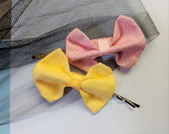 Arcs de cheveux mignon mini pois, lot de 2 épingles à cheveux (rose/jaune), épingle à cheveux noeuds ~ accessoires pour cheveux noeud tissu en coton pour les femmes et les filles