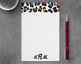 Personalized Notepad | Monogrammed Notepad | Monogram Note Pad | Leopard Stationary Notepad | Leopard Monogram Notepad | PSNTP_0018