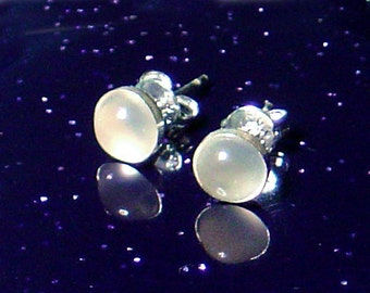 "Mysterious Moonstone ""Glow"" Earrings Sterling Silver Studs"
