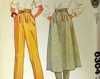Uncut 1970s McCall's Vintage Sewing Pattern 6304, Size 14; Misses' Pants and Skirt