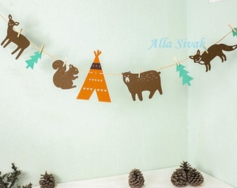 Forest Banner, Woodland banner, Rustic banner, Forest party, Woodland party, Woodland Garland, Forest Animals Banner, Nursery Decorations