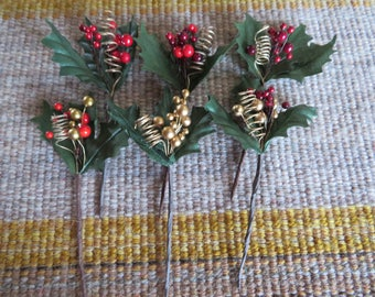 Small holly,tendril and berry picks,assorted reds and gold berry mixes,Holiday crafts,embellishment,Christmas,florals