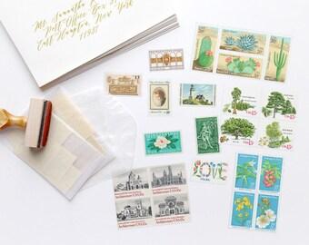 Vintage Postage Photographer's Stylist's Set 2; Cactus, Architecture, Flowers, Trees, LOVE, Lighthouse, Blush & Neutral Gold