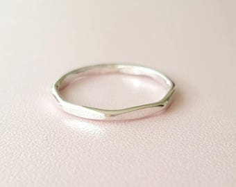 Sterling Silver Ring faceted stackable ring 14 gauge Thumb Ring Stacking Ring unisex