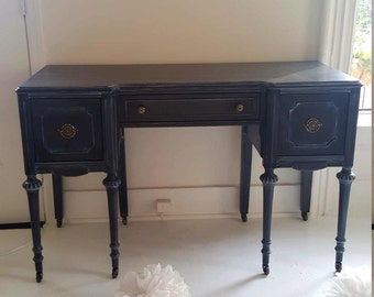 Sold...Gray and black hand painted dressing table, vanity, vintage