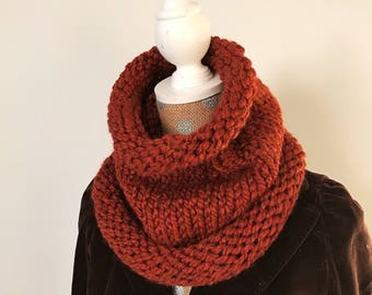 Chunky knit wool cowl.  Rust.