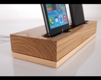 PRE-ORDER iPhone wooden dual docking station - modern style, iPhone 5, iPhone 6, iPhone 7 dock, iPhone 8 dock, iPhone X charging station