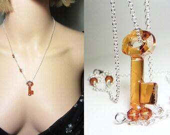 Swarovski Topaz Crystal Necklace Amber Key Pendant Copper Shaded Necklace Copper Pendant Key Necklace Swarovski Key Crystal Key Pendant Gift