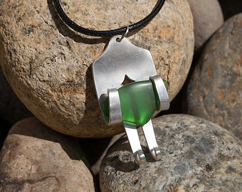 Silver Plated Fork & Tumbled Glass Necklace NL040