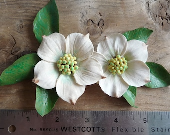 Vintage dogwood flower decoration, handmade 50s