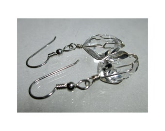 "ww1280 - 1/2""+ Wirewrap HERKIMER DIAMOND EARRINGS - Argentium Sterling Silver"