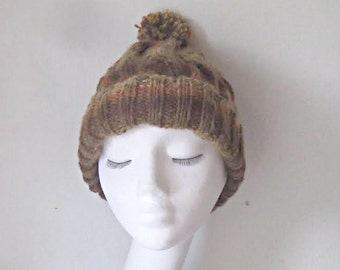 Rust beanie hat, knitted beanie, hat with pom pom, brown beanie, uk accessories, Winter hat, chunky knit hat, cosy hat, Fall accessories