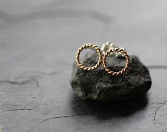 circle earrings, circle studs, gold earrings, gold stud earrings, silver stud earrings, simple circle post earrings, gift for her