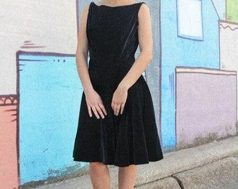 1960s drop-waist black velvet dress
