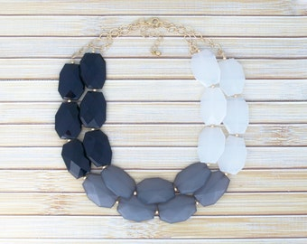 Black & White Statement Necklace - Ombre Color Block Faceted Crystal Asymmetric Necklace - Modern Minimalist Simple Necklace Jewelry 2016