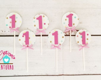 12, 18, 24 or 30 Confetti Cupcake Toppers, First Birthday, Confetti Birthday