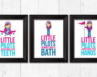 Girls Pilots bathroom rules, Airplanes Decor, Airplanes nursery decor,  Airplanes Bathroom decor, Bathroom rules art, girls bathroom decor