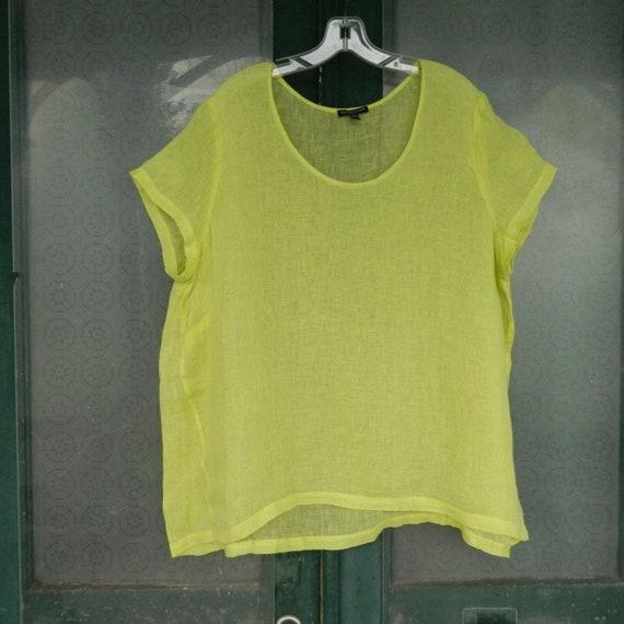 Eileen Fisher Short Sleeve Tee -2X- Yellow Linen Gauze