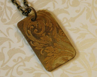 Victorian Scroll Rectangular Pendant Necklace - Gold